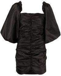 ROTATE BIRGER CHRISTENSEN Phoebe Black Dress With Puff Sleeves