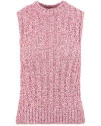 Ganni Chunky Glitter Vest Jumper - Pink