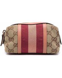 Gucci Web-detail Monogram Makeup Bag - Multicolor