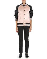"Saint Laurent Varsity ""teddy"" Satin Jacket - Multicolour"