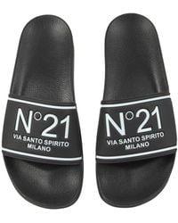N°21 Slide Sandals With Logo - Black