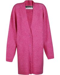 ROTATE BIRGER CHRISTENSEN Pink Mohair-wool Blend Cardigan