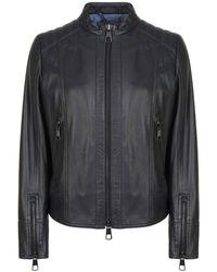 BOSS by HUGO BOSS Jafable Biker Leather Jacket - Black