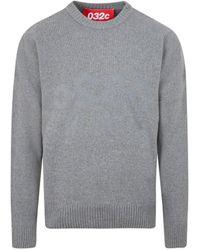 032c Grey Wool Knit Pullover Sweatshirt