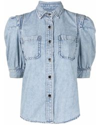 FRAME Puff-sleeve Denim Shirt - Blue