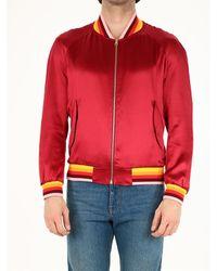 CASABLANCA Silk Bomber Jacket - Red