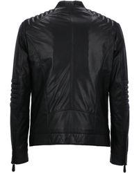 Philipp Plein Band Collar Leather Jacket - Black