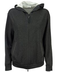 Brunello Cucinelli Cotton And Silk French Terry Sweatshirt With Monili - Black