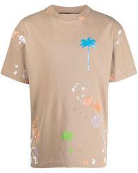 Palm Angels - Palm-print Paint-splatter T-shirt - Lyst