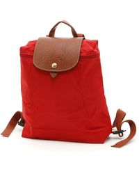 Longchamp Nylon And Leather Le Pliage Original Backpack - Red