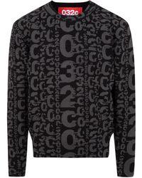 032c Allover Logo Knit Sweatshirt - Black