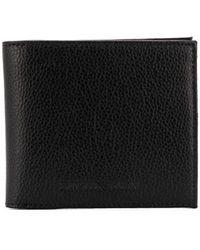 Emporio Armani Pebbled Foldover Wallet - Black