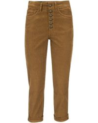 Dondup Koons - Multi-striped Velvet Trousers With Jewelled Buttons - Brown