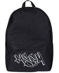 MSGM Backpack With Logo Print - Black