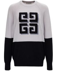Givenchy Cashmere Bicolor Jumper With Logo - Grey