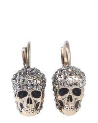 Alexander McQueen Skull Drop Earrings - Metallic