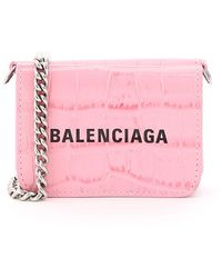 Balenciaga Cash Mini Micro Bag With Chain - Pink