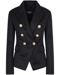 Balmain Double-breasted Wool Jacket - Multicolour