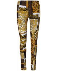 Versace Brown Barocco LEGGINGS - Multicolor