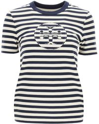Tory Burch Striped T-shirt With Double T Application - Blue