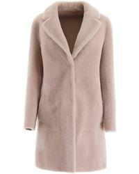Blancha Reversible Midi Shearling Coat - Multicolor