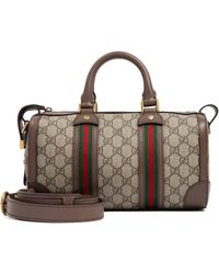Gucci Small GG Web Duffle Bag - Brown