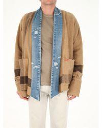 Greg Lauren Striped Boxy Jacket - Natural