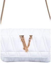 Versace Barocco V Plaque Qulited Crossbody Bag - White