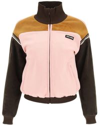 Miu Miu Blouson In Lux Jersey With Suede - Pink