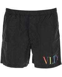 Valentino Swim Trunks Vltn Print - Black