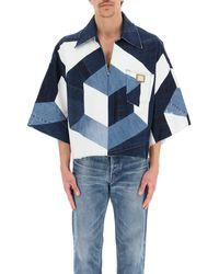 Dolce & Gabbana Oversized Patchwork Denim Shirt 41 Cotton,denim - Blue
