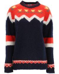 Miu Miu Jacquard Motif Sweater - Blue