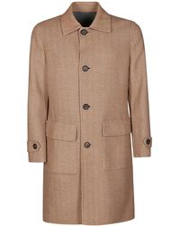 Eleventy Camel Brown Wool Coat - Natural