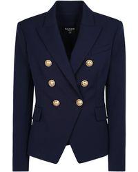 Balmain Double-breasted Jacket - Blue