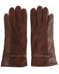 Tru Trussardi Nappa And Suede Gloves - Brown