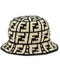 Fendi Raffia Bucket Hat Ff - Black