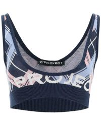 Y. Project Knit Bralette Top - Blue