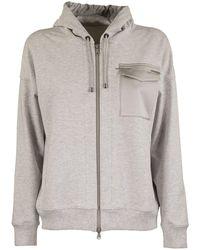 Brunello Cucinelli Lightweight Stretch Cotton French Terry Sweatshirt With Monili - Metallic
