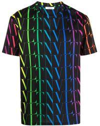 Valentino Vltn Rainbow-logo Print T-shirt - Black