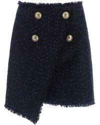 Balmain - Tweed Miniskirt With Lurex - Lyst