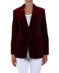 Max Mara Velvet Single-breasted Jacket - Red