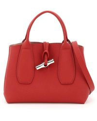 Longchamp Small Roseau Leather Shopping Bag - Red