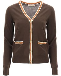 Tory Burch Madeline Cardigan With Logo Buttons - Brown