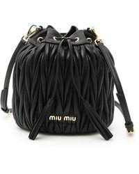 Miu Miu Quilted Shoulder Bucket Bag - Black