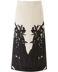 Valentino Orchid Ramage Midi Skirt - Black