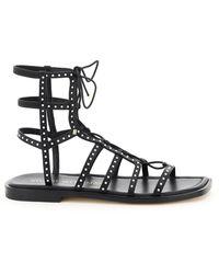 Stuart Weitzman Kora Beaded Lace-up Gladiator Sandals - Black