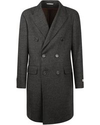 Canali Double-breasted Coat - Black