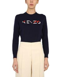 KENZO Crew Neck Cotton Sweater With Embroidered Logo - Blue