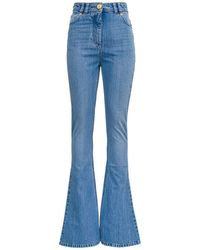 Balmain Flared Denim Jeans With Logoed Inserts - Blue