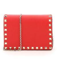Valentino Garavani Valentino Garavani Rockstud Wallet On Chain - Red